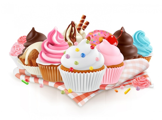 Cupcake vector 3d isolated