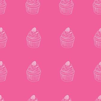 컵 케 익 벡터 패턴입니다. 손으로 그린 귀여운 컵케이크는 파티, 생일, 인사말 카드, 선물 포장을 위한 매끄러운 배경입니다.