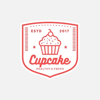 カップケーキのヴィンテージデザインロゴ