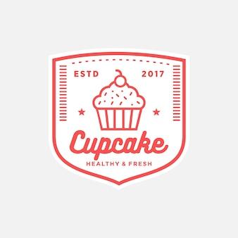 Cupcake vector vintage design logo