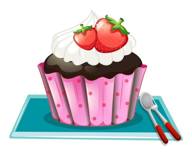 クリームとイチゴのカップケーキ