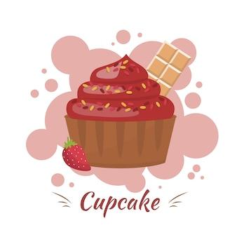 クリーム、チョコレート、ベリーのカップケーキ