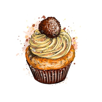 Cupcake with cream from a splash of watercolor, hand drawn sketch.  illustration of paints