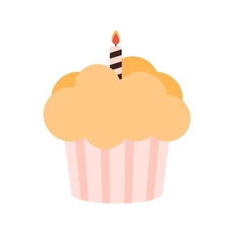 Кекс с помадкой и одной свечой. векторная иллюстрация. eps10