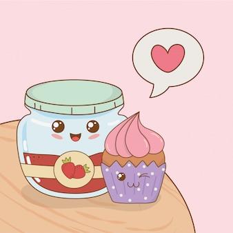 Cupcake with jam pot kawaii characters
