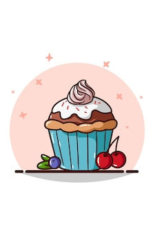 A cupcake with pink cream and cherry and blueberry