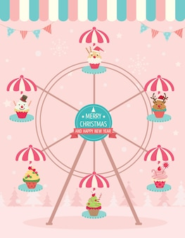 Cupcakes christmas ferris wheel pink
