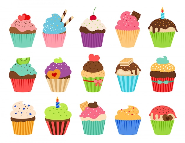 Cupcakes flat icons. delicious birthday cupcake and wedding muffin vector collection isolated