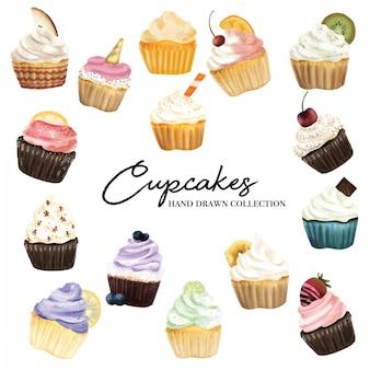 カップケーキ手描きコレクション - 水彩スタイル