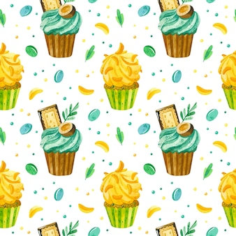 Cupcakes and marmalade watercolor seamless pattern birthday background