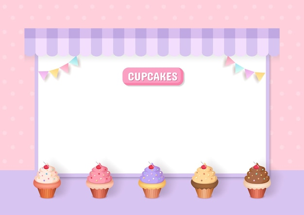 Cupcakes menu decorated with party frame