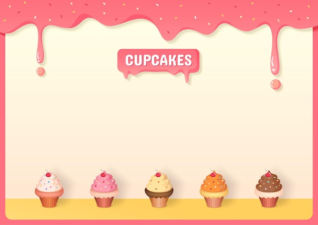 Cupcakes menu decorated with strawberry creamy frame