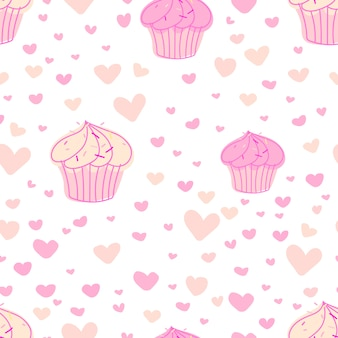 Cupcakes pattern background.
