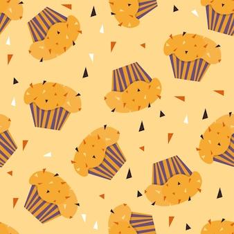 Иллюстрация образца кексов. бесшовные печати с набором кондитерских изделий. векторный фон пекарни