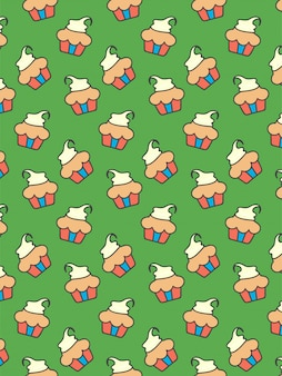 Cupcakes pattern on yellow background