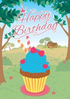 Cupcakes princess happy birthday card jungle