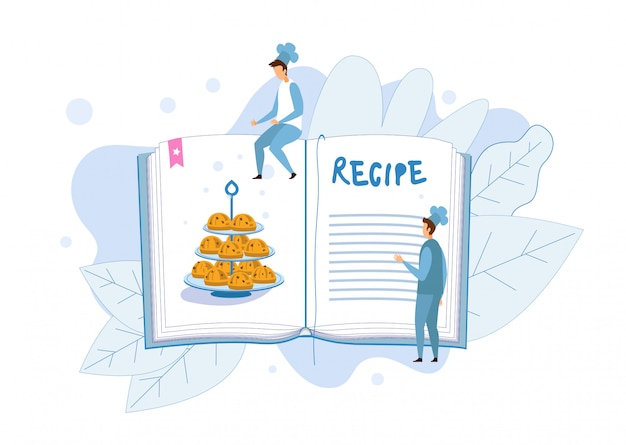 Cupcakes recipe in cook book metaphor illustration
