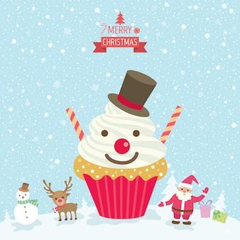 컵 케이크 눈사람 크리스마스