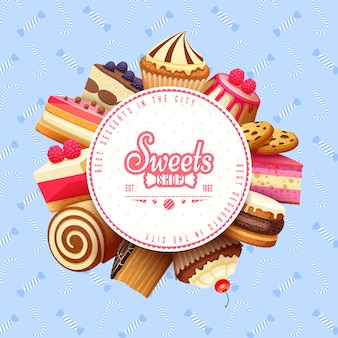 Cupcakes sweets shop round background frame
