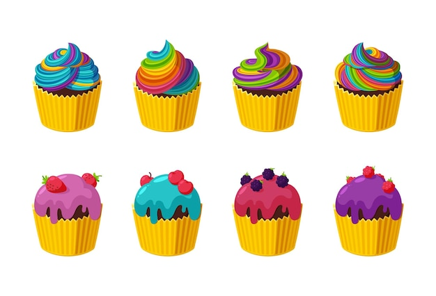 다채로운 설탕 장식, 무지개 장식, 딸기가 있는 컵케이크. 만화 스타일의 그림