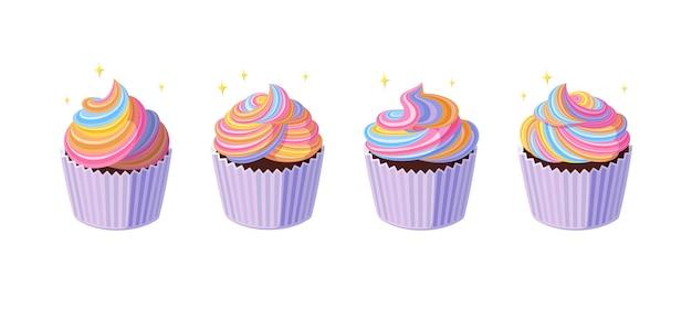 소용돌이 모양의 레인보우 아이싱을 곁들인 컵케이크 다채로운 크림을 곁들인 맛있는 반짝이 머핀