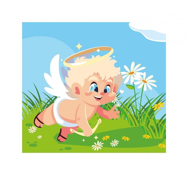 Купидон-ангел, нацеливающий стрелу, день святого валентина