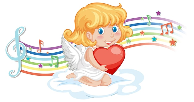 Cupid angel character with melody symbols on rainbow