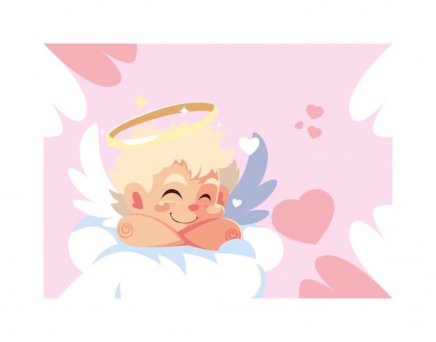 Cupid angel sleeping on a cloud, valentines day