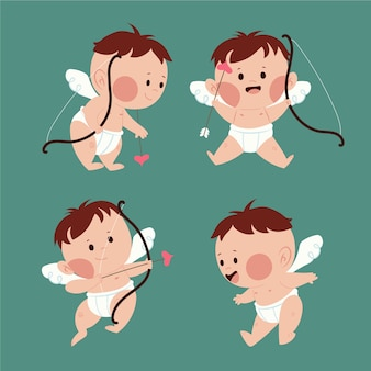 Cupid angel with brown hair and bow with arrows