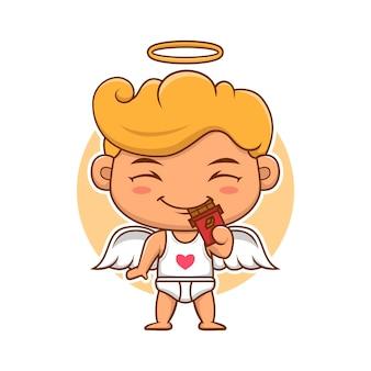 초콜릿을 먹는 발렌타인 데이 큐피드 천사