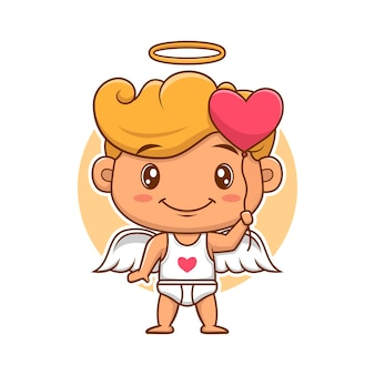 Cupid angels of valentine's day bring a love balloon