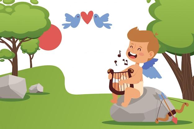 キューピッドの男の子が歌って、天使のハープ、イラストを演奏します。バレンタインデーのかわいい小さな天使、シンプルな夏の風景。愛らしいキューピッドの漫画のキャラクター