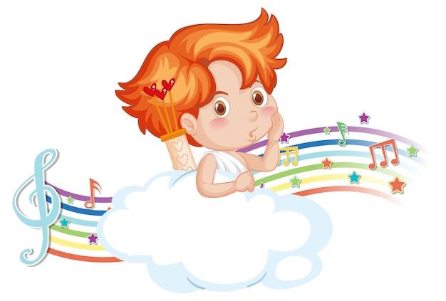 무지개에 멜로디 기호가 있는 구름 위의 큐피드 소년 캐릭터