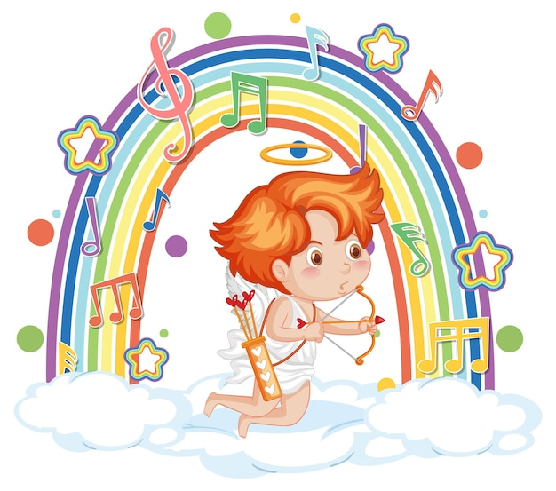 Cupid boy on the cloud with melody symbols on rainbow