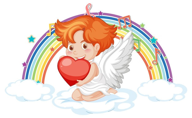 Cupido sulla nuvola con simboli di melodia sull'arcobaleno