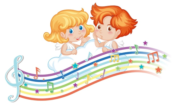 Cupid boy and girl cartoon character with melody symbols on rainbow