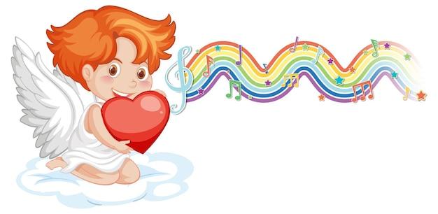Ragazzo cupido che tiene il cuore con i simboli della melodia sull'onda arcobaleno