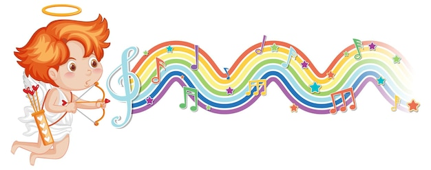 Cupid boy laying on the cloud with melody symbols on rainbow wave
