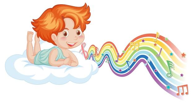 Ragazzo cupido sdraiato sulla nuvola con simboli di melodia sull'onda arcobaleno