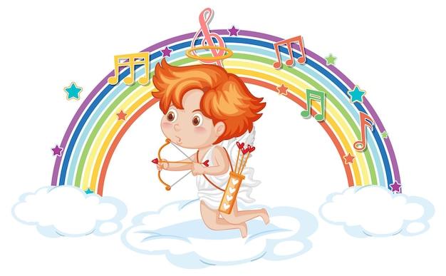 虹のメロディーシンボルと雲の上のキューピッド少年
