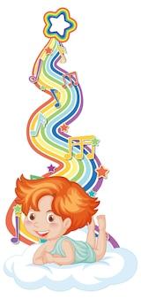 虹の波にメロディーのシンボルを持つキューピッドの少年