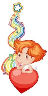 Ragazzo cupido con simboli di melodia sull'onda arcobaleno