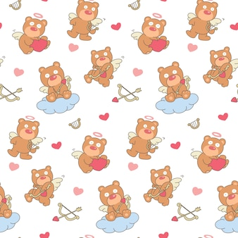 Cupid brown bear with bow seamless pattern