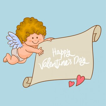 Cupid carrying a banner