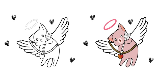 Cupid cat character cartoon coloring page