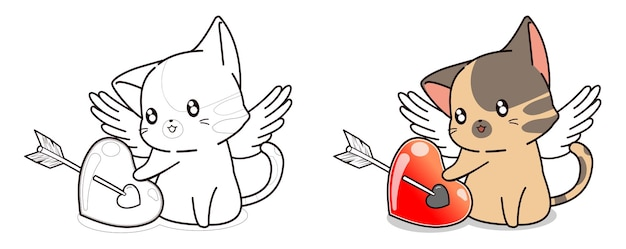 Cupid cat character and heart cartoon easily coloring page