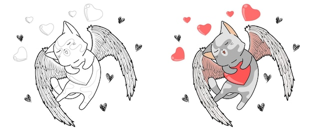 Cupid cat is hugging the heart in valentine day cartoon coloring page for kids