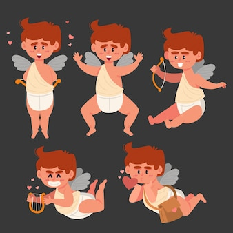 Cupid character collection in flat design
