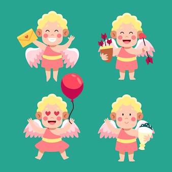 Коллекция персонажей амура в плоском дизайне