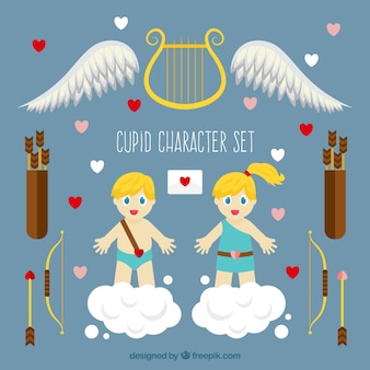 Cupid characters with accessories in flat design